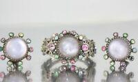 Vintage Signed SELRO Silver Filigree Glass Clamper Cuff Bracelet Earrings Set
