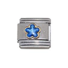 Blue Sparkly Flower Italian Charm - fits 9mm Nomination classic bracelets