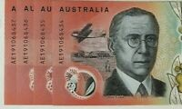 Australia 2019 $20 Notes New Generation 4 x CONSECUTIVE AE19 Prefix  UNC