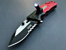 TAC FORCE RED FIRE FIGHTER SPRING ASSISTED TACTICAL RESCUE POCKET KNIFE OPEN NEW