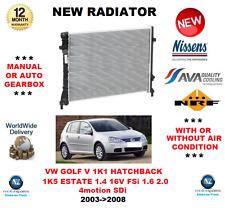 Para VW Golf Mk V 1K1 1K5 1.4 16v FSI 1.6 2.0 4motion Sdi 2003-2008 Radiador