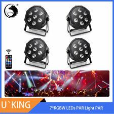 4PCS U`King Bühnenlicht 7LED RGBW Fernbedienung DMX Disco Party Stage DJ Uplight
