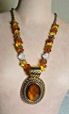 """AVON SP GOLDTONE METAL CHAIN LINK BEADED NECKLACE W/BROWN FAUX STONE PENDANT 17"""""""