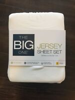 """The Big One Solid Jersey Sheets Set, 4PC - White Full Reg $60 Fits 15"""" depth"""