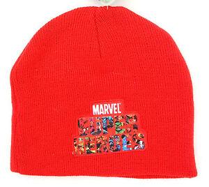 Marvel Avengers Assemble Super Heroes Boy's Red Beanie Hat OSFM NWT