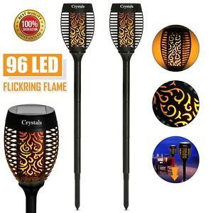 96 LED TORCH SOLAR LIGHT PATIO GARDEN DANCING FLICKERING FLAME LAMP