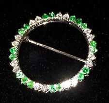 "Elegant 14K White Gold ""Eternity"" Pin with Fiery Diamonds & Brilliant Emeralds"