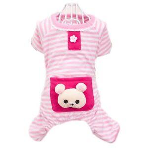Stripe Jumpsuit Pajamas Pet Bear Clothes Dog Puppy Costume Coat Cute For Apparel