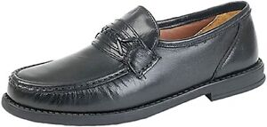 Mens Roamers Black Soft Leather Moccasin Casual Shoes - UK Sizes 7-12