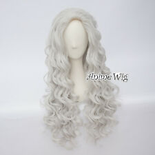 80CM Silver White Long Curly Lolita Party Women Heat Resistant Hair Cosplay Wig