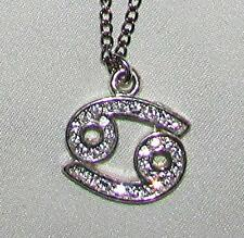 "JUNE 22-JULY 22 CANCER (CRAB) ZODIAK SYMBOL RHINESTONE PENDENT 21""CHAIN NECKLACE"
