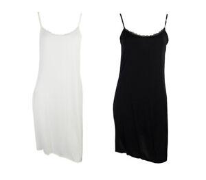 EX M&S LADIES MID-FULL BLACK OR WHITE COOLING SLIP SIZE 8-10-12 LENGTH 14-19 IN