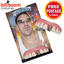 AS287 Billy Bob Bling Gold Fake Teeth Gangster Rapper Costume Joke Funny Comedy