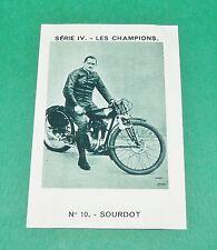 RARE CHROMO PHOTO 1933 JOSEPH-MILLIAT SOURDOT MOTOCYCLISTE MOTO COURSES