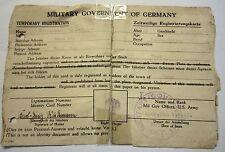 Zeitweilige Registierkarte vom 1.6.1945  von der U.S.Army für die Stadt Veen