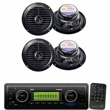 Pyle IN-Dash Marine MP3 Player/Weatherband + 6.5'' Dual Cone Waterproof Speakers