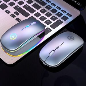 Ultra-thin LED Colorful Lights Rechargeable  Mini Wireless USB Optical mouse