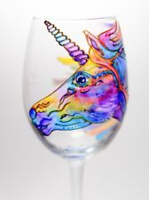 Unique Hand Painted Unicorn Wine Glass Personalized Wine Tumbler Christmas Gift