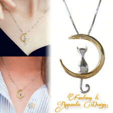 925 Sterling Silver Cat Kitty Crescent Gold Yellow Moon Luna Pendant Necklace