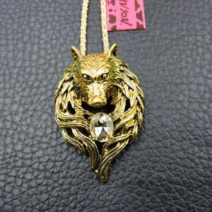 Gold Enamel Rhinestone Wolf Head Betsey Johnson Pendant Chain Necklace/Brooch