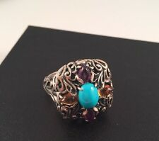 Carolyn Pollack Sterling Silver .925 Turquoise Amethyst Gemstone Ring Size 10