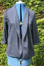 George size 14 Navy Blue light weight short Jacket cotton blend 3/4 sleeves