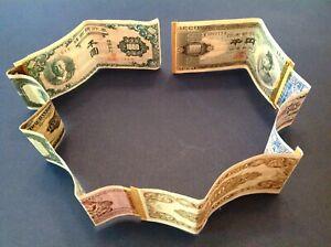 ~ Korean War Short Snorter With US MPC, Japan ¥1000 & Bank of Korea - 6 Notes