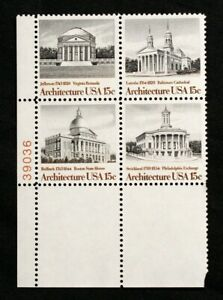 US Plate Blocks Stamps #1779-82~ 1979 ARCHITECTURE 15c Plate Block of 4 MNH