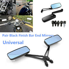 2x Motorcycle Anti Glare Blue Glass Aluminum Housing Rectangle Rearview Mirrors