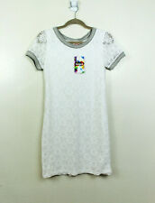 Desigual Womens Small Short Sleeve White Floral Lace Shift Dress NWT