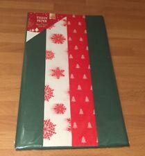 Natale Tessuto Carta Rosso Bianco Verde 12 fogli regalo avvolgimento presenti 50x66cm