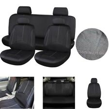 Black Car Seat Cover PU Leather Front +Rear Seat Cushion Full Set Protector Mat