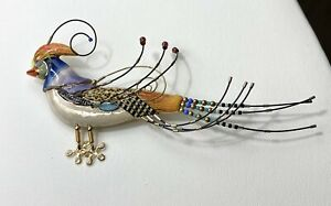 """Cynthia ChuangVintage Jewelry Sassy 5"""" Porcelain Colorful Bird Pin Brooch Rare"""