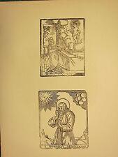 Antigua xilografía impresión ~ imagen gótica religiosa FRANCISCVS depavla Saint