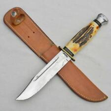 "KA-BAR Union Cutlery 1950th split-stag 6"" blade Camp knife, original sheath RARE"