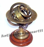 Engraved Sphere Globe Astronomy Antique Vintage Brass Armillary Globe Desktop
