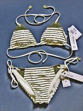 Sperry Top sider Striped Bikini 2 Pc Set Olive Green Cream Stripes Size XS