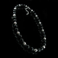 .925 Sterling Silver Natural Black Onyx Bead Necklace