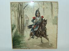 Aquarell auf Papier Reiter Soldaten