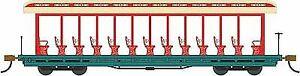 BACHMANN HO SCALE 1/87 OPEN SIDE EXCURSION CAR RED/AQUA | BN | 19345