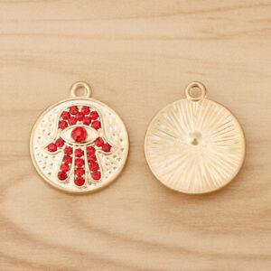 10pcs Gold Tone Crystal Hamsa Hand Fatima Evil Eye Round Charms Pendants Beads