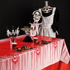 Nappe blanche sanglante rouge  180x130 cm en plastique PVC decoration HALLOWEEN
