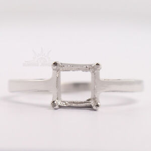 5mm Square Fabulous Semi Mount Ring Choose Any Sizes 925 Sterling Silver Jewelry