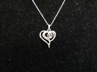 Statement Necklace Crystal Rhinestone Heart Pendant Silver Tone Shiny CHIC