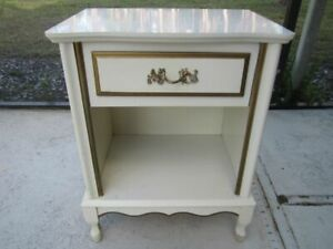 Vintage French Provincial Nightstand One Drawer Ivory And Gold