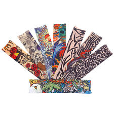4 PCS Nylon Fake Temporary Tattoo Sleeve Arm Stockings Tatoo For Men Women USA