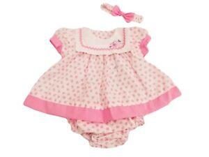 BNWT Baby Girls summer pink hearts dress set knickers & hairband NB 0-3m 3-6m