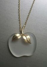 Vintage Avon CRYSTAL APPLE PENDANT Necklace 1978. With original Avon box.