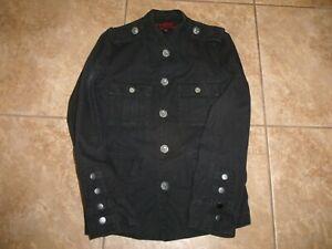 Men's Tripp NYC Black Denim Jacket Skull M Medium Button Down Gothic