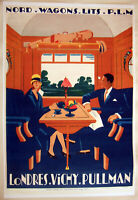 Large HiQ Facsimile 1927 London-Vichy Pullman Express Train Travel Poster36x24